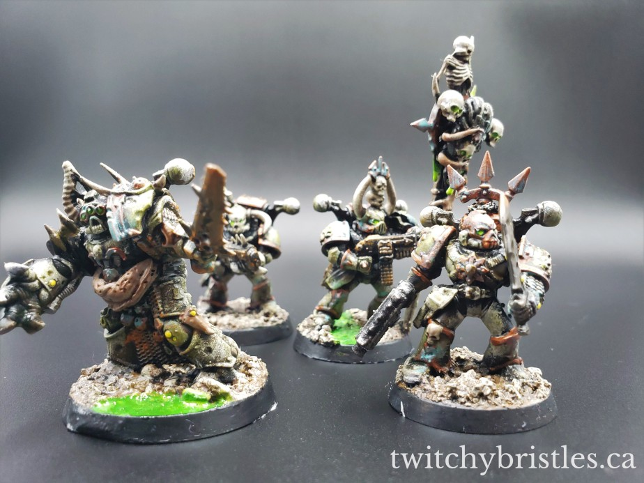 Death Guard (Chaos Lord and Plague Marine Kitbashes)